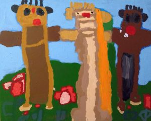 Drei Menschen vrschiedener Hautfarben, ein Werk von Valeria Sachs ebenso in der Ausstellung