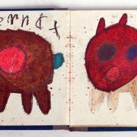 Katze im Buch, 2011, Ölkreiden