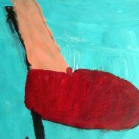 Rote Schuh, 2016, Acryl, Kreide