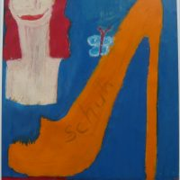 Schöne Frau mit Schuh, 2016, Acryl