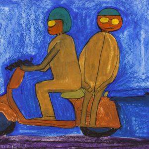 Vespa mit Anhänger, 2012, Wasserfarbe, Kreiden