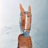 Reiter, 2014, Aquarellbuntstift, Graphit