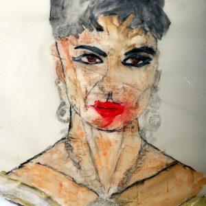 Schöne Frau, 2015, Aquarell, Kreide auf Transparentpapier