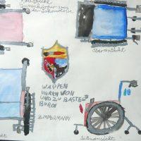 Skizze zum Lokbau, 2012, Aquarell, Blei