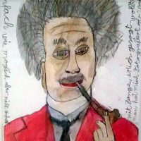 Albert Einstein nachdenkend, 2014, Aquarell, Blei