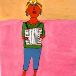 Akkordeonspielerin, 2009, Acryl