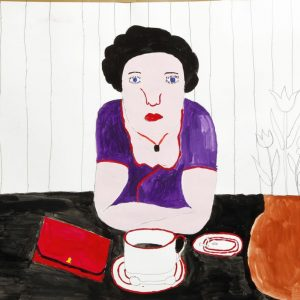 Schöne Frau beim Kaffee, 2011, Gouache